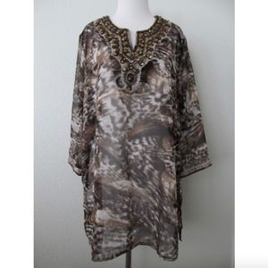 Chicos Tunic Top 3 or XL Beads Sheer Chiffon